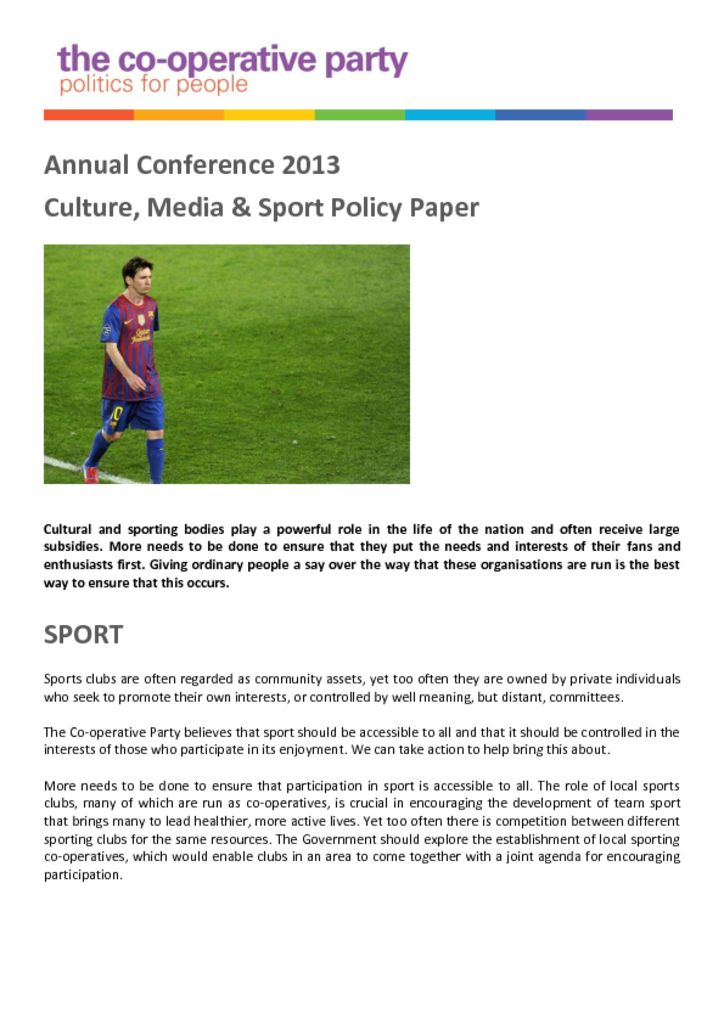 thumbnail of Culture Media Sport Policy Paper – Annual Conference 2013
