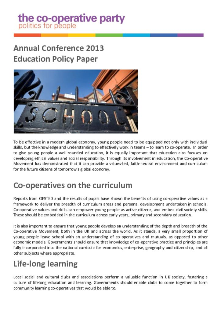 thumbnail of Education Policy Paper – Annual Conference 2013