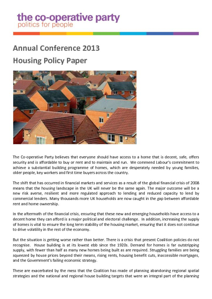 thumbnail of Housing Housing Policy Paper – Annual Conference 2013