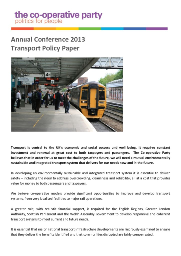 thumbnail of Transport Policy Paper – Annual Conference 2013