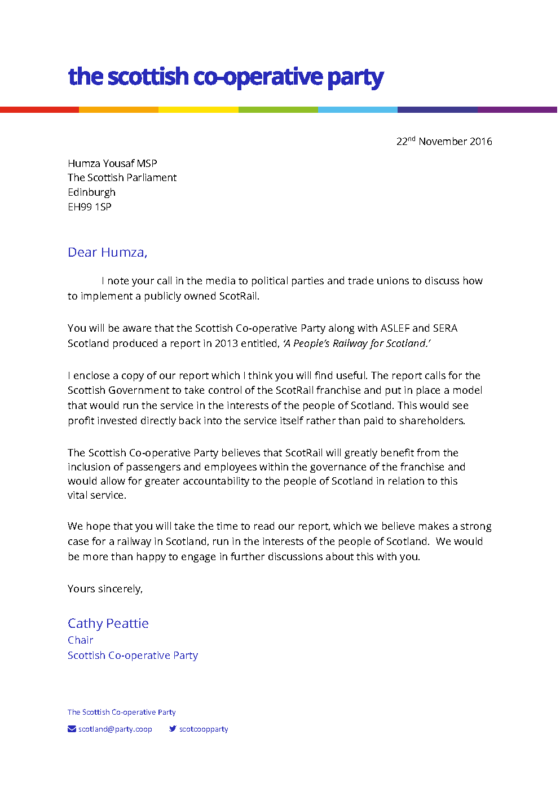 The letter sent to Scottish Transport Secretary Humza Yousef