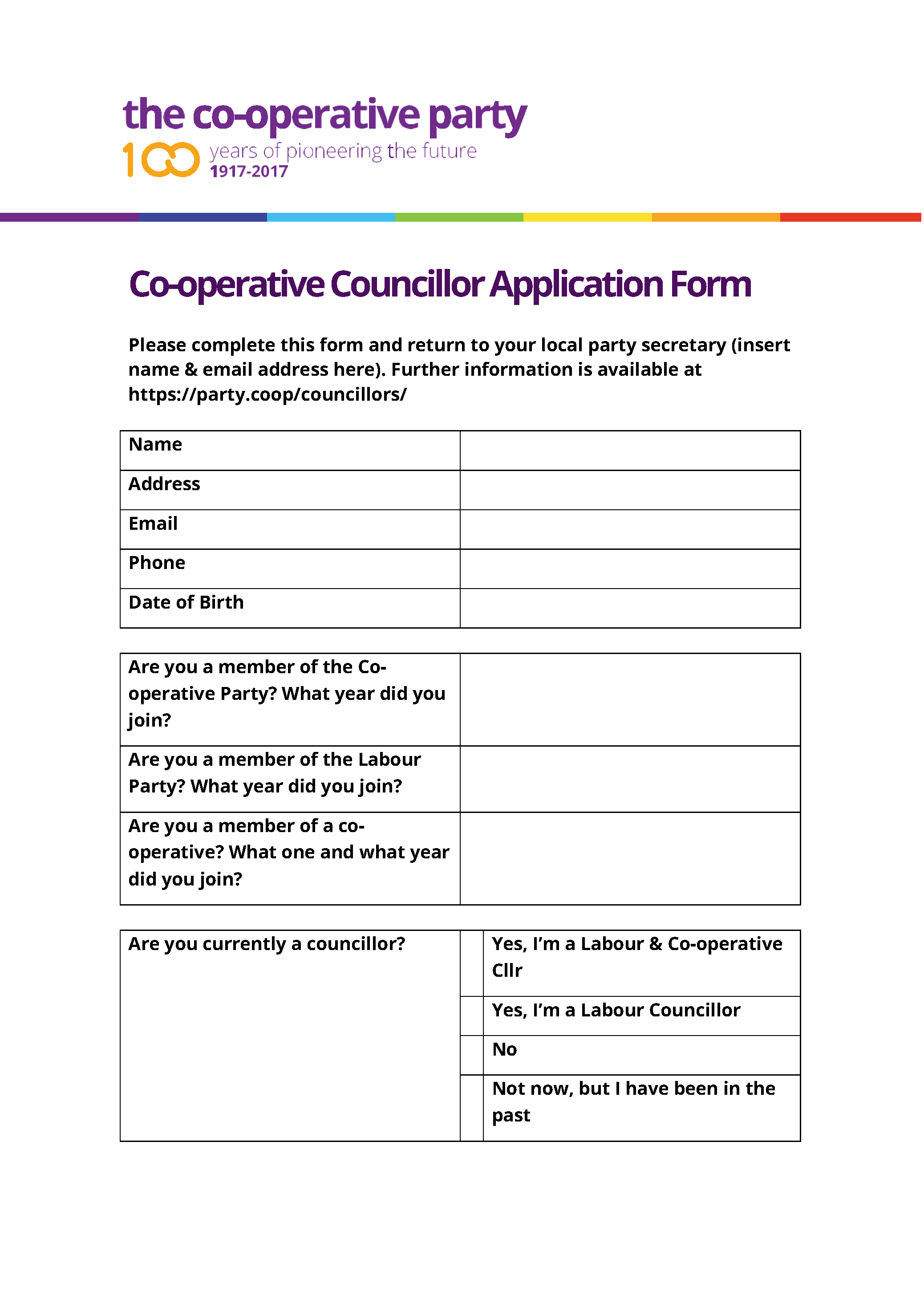Councillor Application Form Template – The Co-operative Party