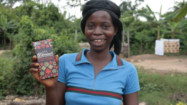 Divine Fairtrade Chocolate is 44% owned by Kuapa Kookoo, a cocoa farmers' co-operative in Ghana .  Kuapa Kokoo has over 80,000 members, 35% of which are women, and produces around 6% of Ghana's cocoa