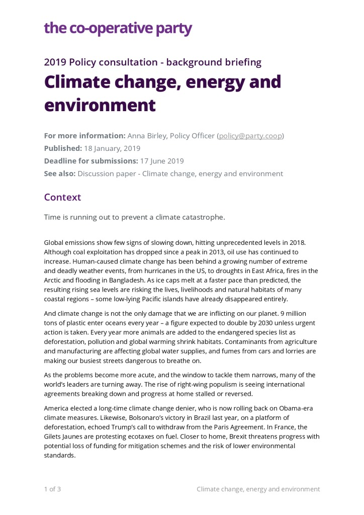 thumbnail of Background briefing – Climate change, energy and environment