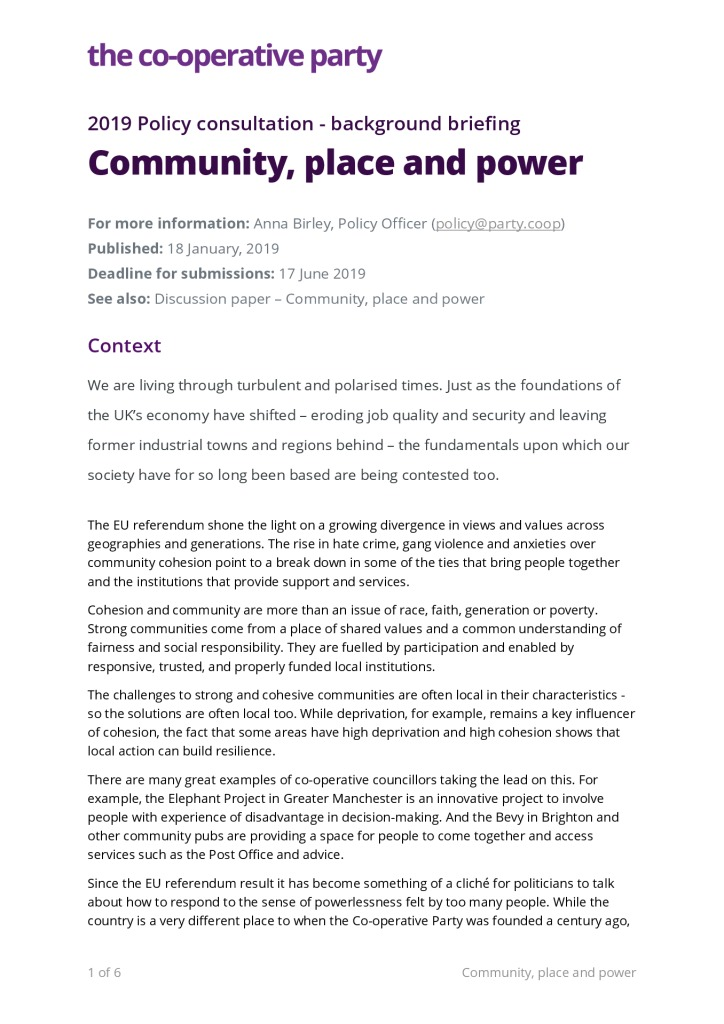 thumbnail of Background briefing – Community, Place and Power