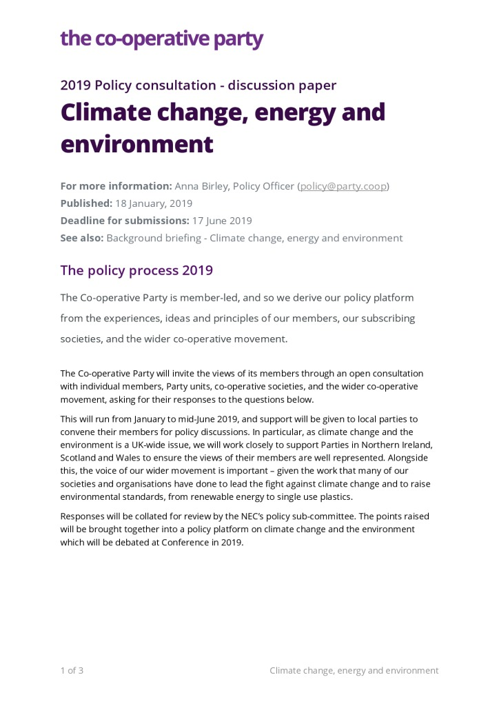 thumbnail of Discussion paper – Climate change, energy and environment