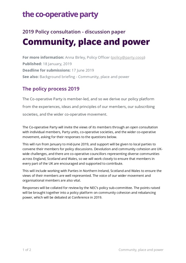 thumbnail of Discussion paper – Community, Place and Power