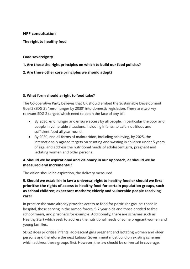 thumbnail of NPF consultation sustainable food