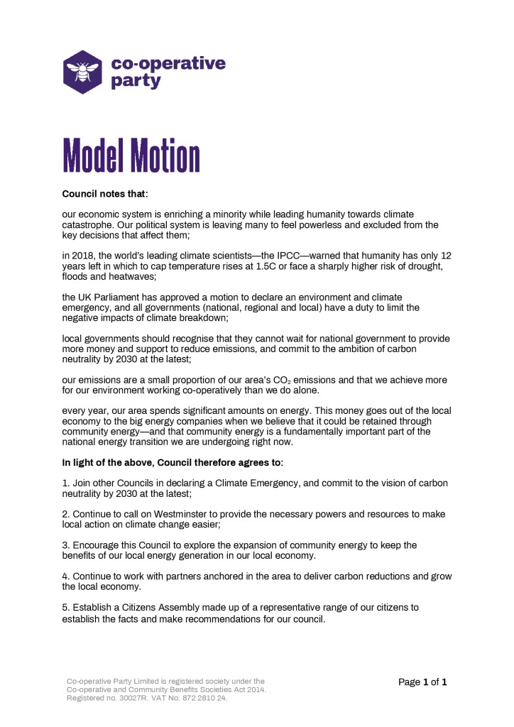 thumbnail of Model Motion – Declaring a Climate Emergency