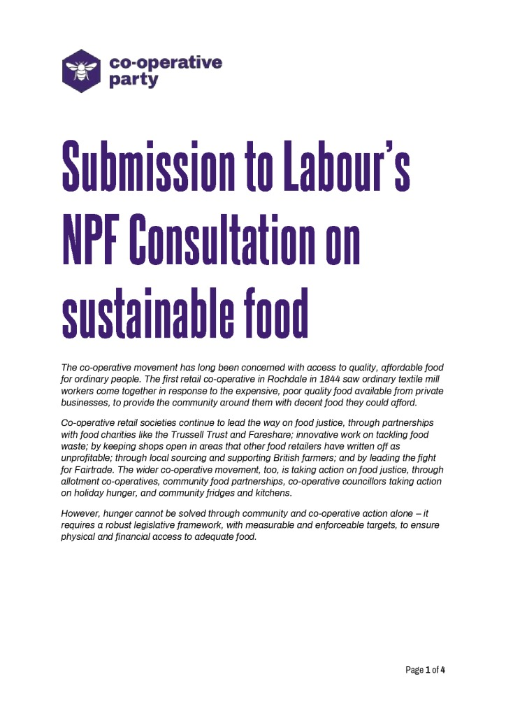 thumbnail of NPF submission on food sustainability