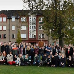 Students outside Edinburgh student housing Co-op