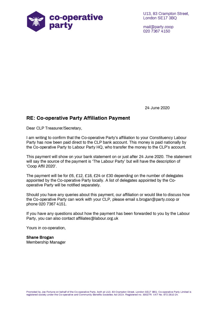 thumbnail of Co-operative Party CLP Affiliations Notice 2020