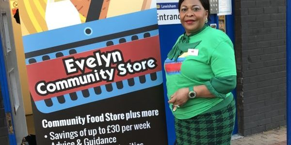 Cllr Caroline Kalu at the launch of Evelyn's Community Store.