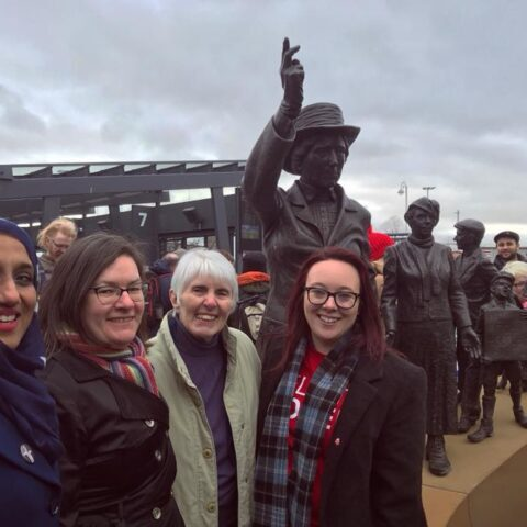 Bailie Soryia Siddique; Councillor Maggie McTernan, Maria Fyfe and Councillor Eva Murray at the unveiling of the statue of Mary Barbour in Govan.