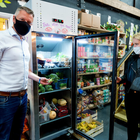 Photo by Theo Moye 26/06/21 Luke Pollard MP visits one of Hubbub's Community Fridges, helped with funding from the Co-op, at the Kintsugi Project in the Leadworks, Rendle Street, Plymouth. Luke Pollard is pictured with Co-op Campaigns and Public Affairs Senior Manager Alison Scowen.