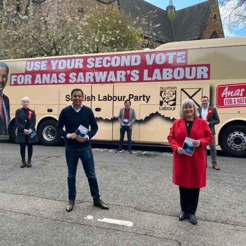 Rhoda Grant and Anas Sarwar with other candidates in Inverness launch the Recovery Plan  for the Highlands and Islands